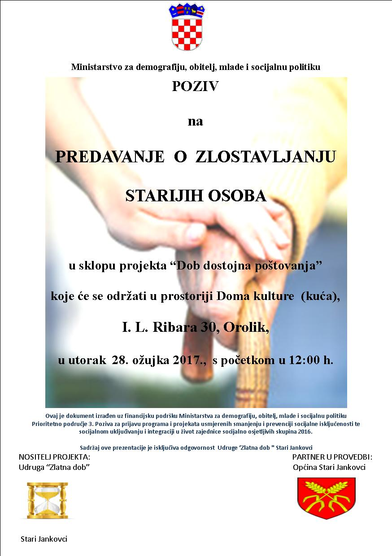 LokalnaHrvatska.hr Stari Jankovci Poziv na predavanje o zlostavljanju starijih osoba